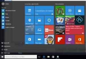 menu start windows 10 prima della modifica